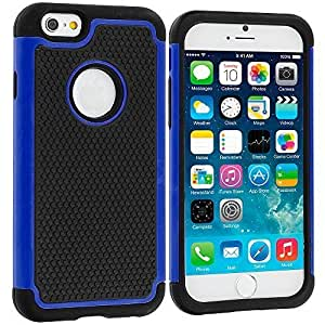 Accessory Planet(TM) Black / Blue Hybrid Rugged Matte Hard/Soft Protective Case Cover for Apple iPhone 6 Plus (5.5)