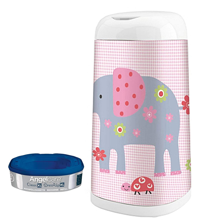 Angelcare Windeleimer Dress-Up XL 66 cm Höhe mit Bezug Elephant Family