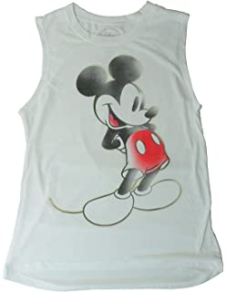 c0afcef0e3a Disney Mickey Mouse Tee Junior Girls Fashion Top T Shirt Muscle Tank Touch  White