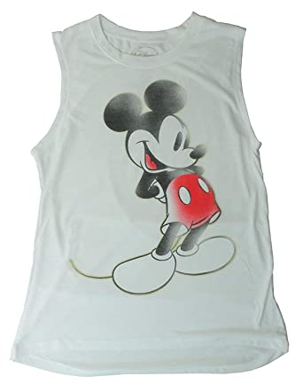 bd2599aa Disney Mickey Mouse Tee Junior Girls Fashion Top T Shirt Muscle Tank Touch  White: Amazon.co.uk: Clothing