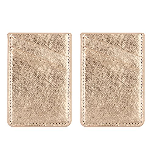 [2 Pack- Golden]Obbii Metallic Gold PU Leather Card Holder for Back of Phone With 3M Adhesive Stick-on Credit Card Wallet Pockets for iPhone and Android Smartphones (fit for 4.7 inches or above)