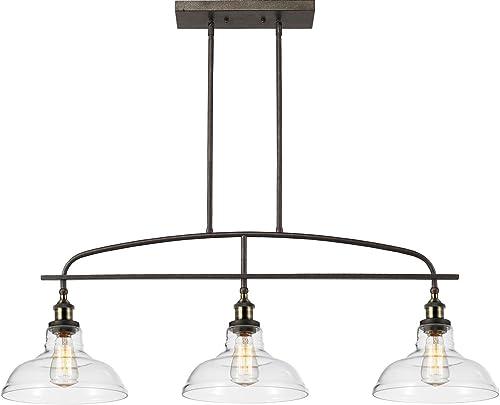 CLAXY Rustic Kitchen Island Pendant Lighting Adjustable Dining Room Chandelier -3 Lights