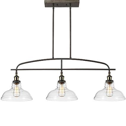 CLAXY Ecopower Kitchen Linear Island Pendant Lighting Vintage Lamp  Chandelier  3 Lights