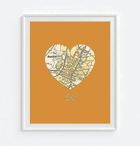 Amazon Austin Texas Vintage Heart Map Art Print Unframed