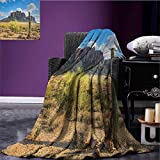 Saguaro outdoor blanket Famous Canyon Cliff with Dramatic Cloudy Sky Southwest Terrain Place Nature Custom made Brown Green Blue size:50''x60''