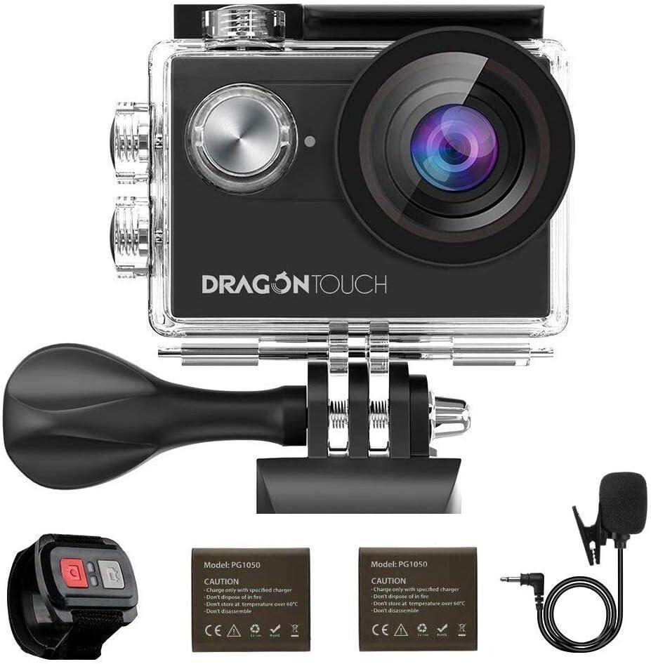 Dragon Touch Cámara Deportiva WiFi 4K 16MP Cámara de Acción con Control Remoto Mic Externo EIS 170° Gran Angular Cámara Sumergible Acuática 30m Impermeable 2 Baterías Multi Accesorios (Vision 4)