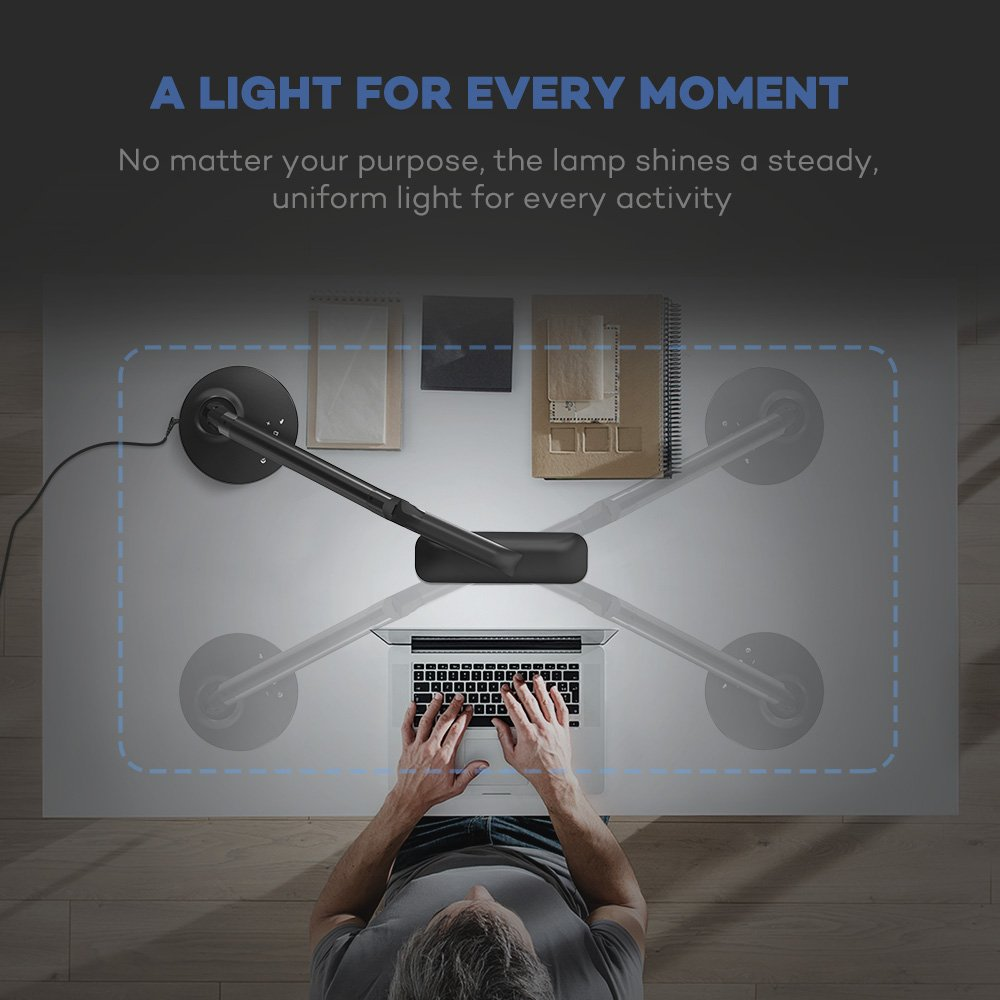 TaoTronics LED Desk Lamp Fully Rotatable Dimmable, Wider Lighting Zone, USB Charging Port, 4 Color Modes and 4 Brightness Levels, 1 Hour Timer, Official Member of Philips EnabLED Licensing Program by TaoTronics (Image #6)