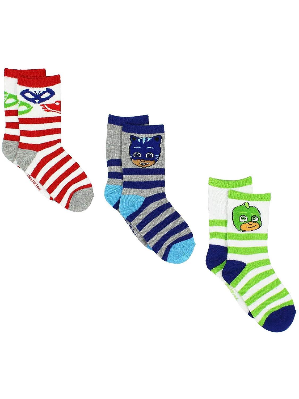 PJ Masks Boys Girls 3 pack Crew Socks (Toddler/Little Kid) White/Multi)