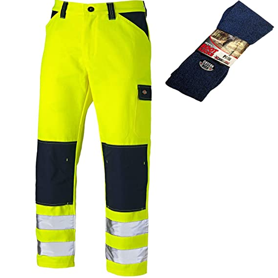 All Sizes Dickies Everyday Hi-Vis Multiple Pocket Work Trousers Yellow /& Navy