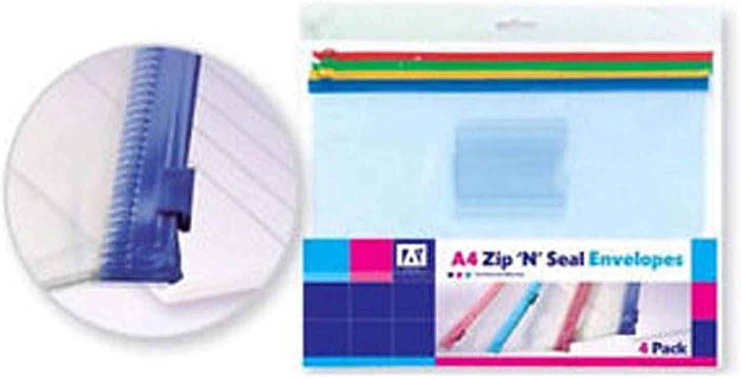 Anker A4 Zip /& Seal Plastic Envelopes Folders pack of 3