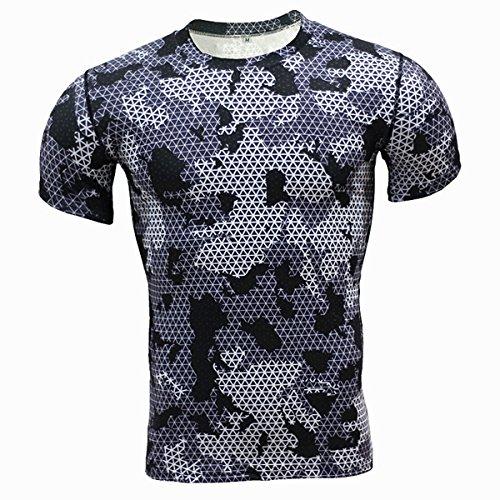 Alamor Heren Camouflage Training Fitness Tees Tops Sneldrogende Elastische Compressie Strakke Sport T-shirt-Grijs-L