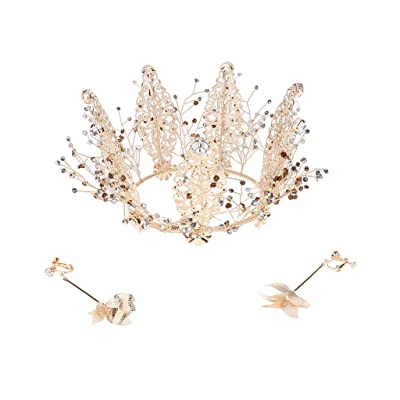 sharprepublic Golden Leaf Rhinestone Jewelry Bridal Queen Crown \u0026 Earrings Bridemaids Gift: Juguetes y juegos