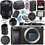 Sony Alpha a6300 Mirrorless Digital Camera (Black) ILCE6300/B + Sony Planar T FE 50mm f/1.4 ZA Lens SEL50F14Z + NP-FW50 Replacement Lithium Ion Battery + External Rapid Charger Bundle