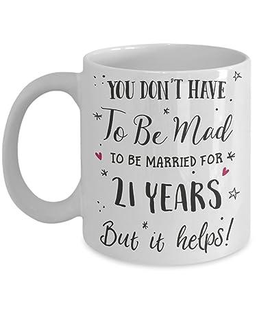 Amazon 21st Wedding Anniversary Gift Mug Funny Wife Or