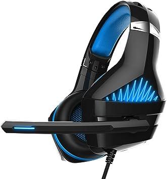 Auriculares Gaming, beexcellent Gaming Headset con micrófono para PS4/xbox one (adaptador requiere)/Nintendo Switch (Audio)/PC/Controlador/móvil – Control Fácil del volumen con iluminación a led Jack de 3,5 mm (GM-5 Azul): Amazon.es: Electrónica