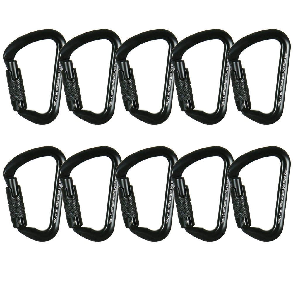 Fusion Climb Essence Military Tactical Edition Aluminum Triple Lock Key Nose Modified D UIAA Certified Carabiner Black 10-Pack