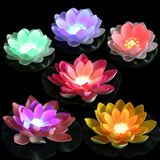 LACGO Battery Operated Mixed Colors Waterproof Floating LED Lotus Light 2 Big Size Leaves 11 Pack of 6 + Flower Night Lamp Color-Changing Lily Flower Light Pool Garden Fish Tank Wedding Decor