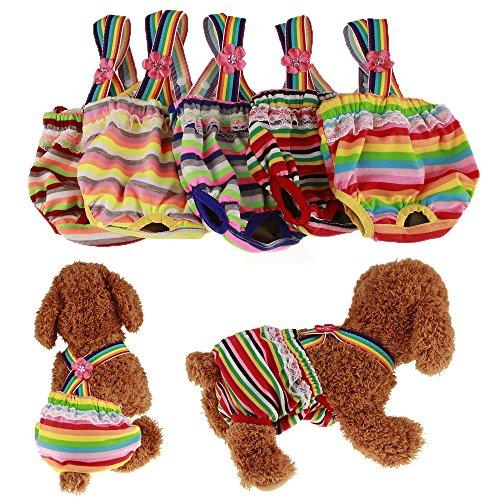 Pet Cat Dog Clothes Cotton Stripe Suspender Pants Dog Physiological Pants Underwear Pets Tighten Sanitary Briefs Jumpsuits Pants Size XL