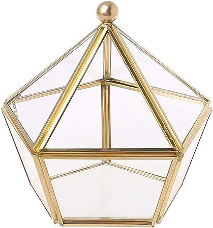 MYA - Caja de Joyas con Forma de pentágono, Transparente, joyero de Cristal, Color Dorado: Amazon.es: Hogar