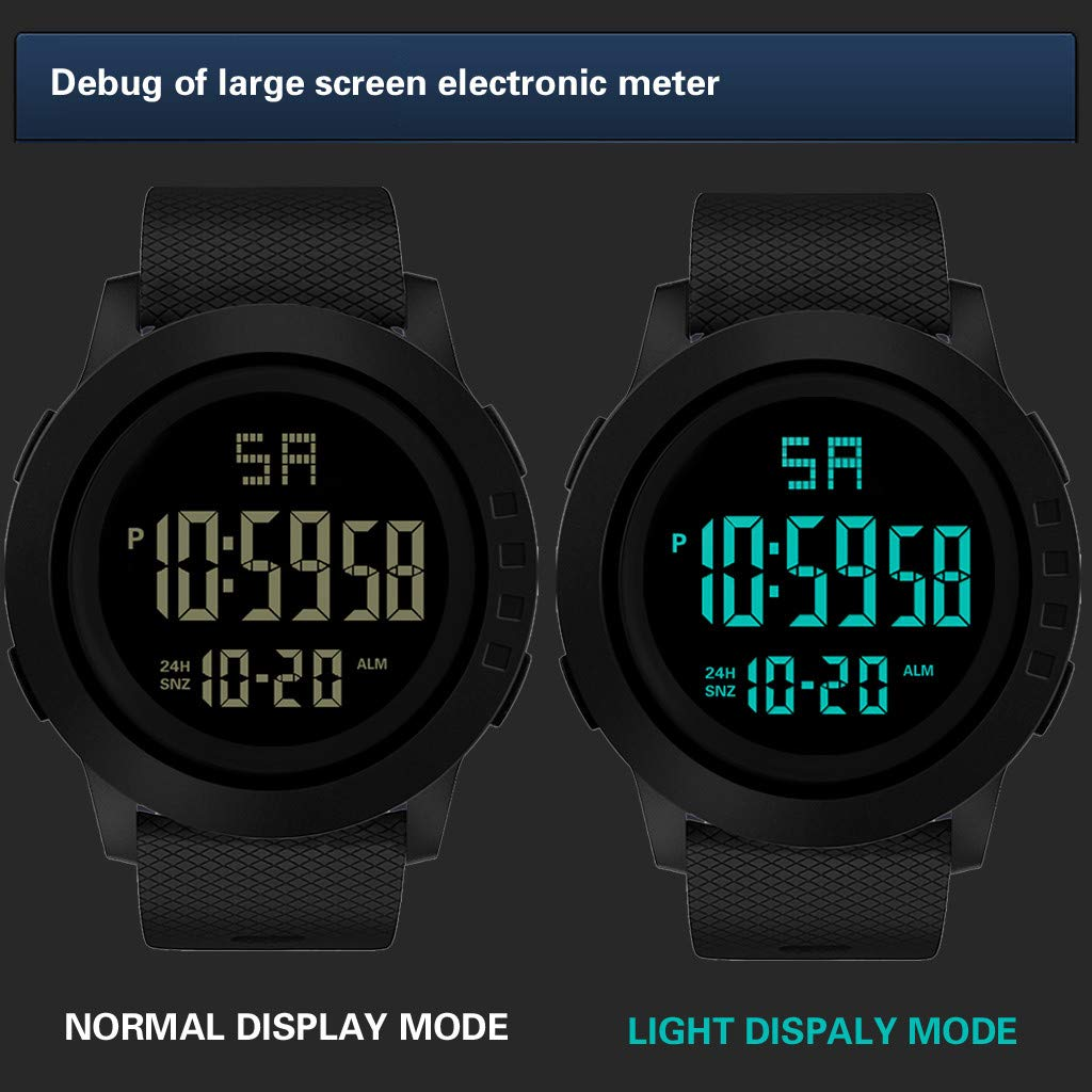 Amazon.com: Digital Watches for Men DYTA LED Sport Wrist Watches 5ATM Waterproof Outdoor Watch on Military Quartz Watchs with Rubber Silicone Strap ...