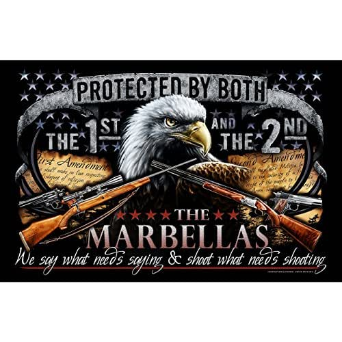 Second Amendment Personalized Family Name High-Quality Print. Patriotic Poster Depicting American 1st and 2nd Constitutional Rights - 11 in. x 17 in. Ready to be Framed!