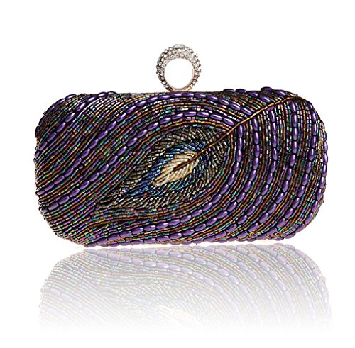 GSHGA Purse Clutch Women Handbag Purple Bag Evening Envelope Shoulder Classic Bag Pleated Clutch pFpwxrq