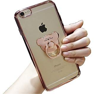 24624839ae Lanjp iPhoneケース かわいいクマ型 クリア 透明 TPU ソフト 落下防止リング付き シンプル スリム