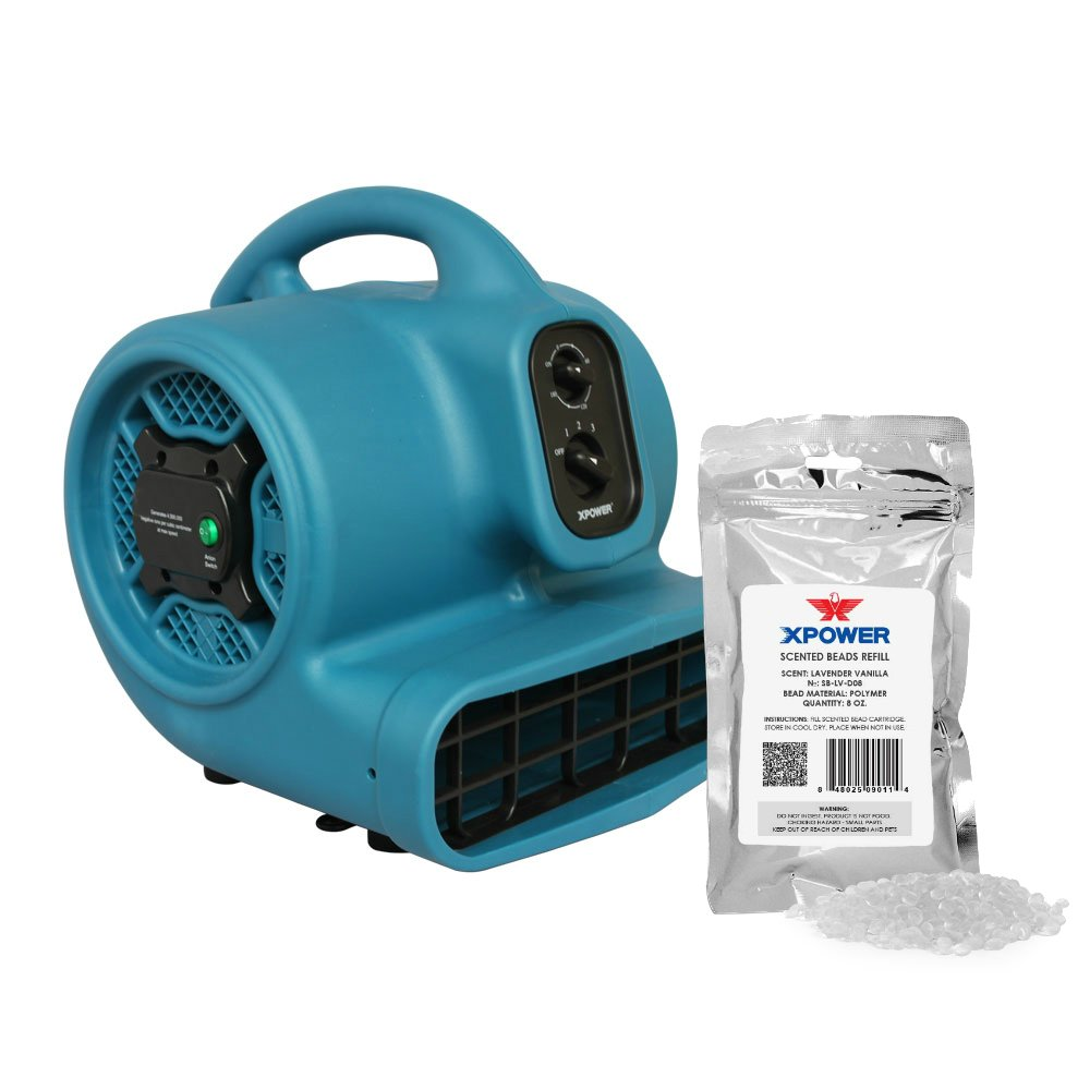 XPOWER P-450NT Freshen Aire 1/3 HP Scented Air Mover with Ionizer, Timer & Freshener Beads Refill (Lavender Vanilla, 8 oz)