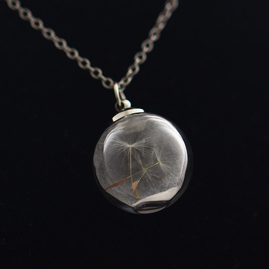 Kevnetou 1Pc Silvery Plated Green Jewellery Spherical Pendant Necklace