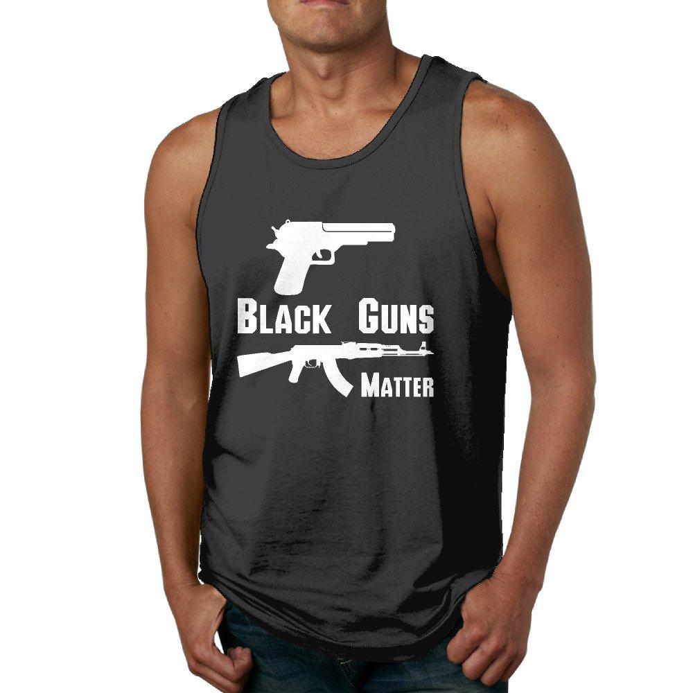 Boss-Seller Mens Unique Guns Matter Pistol Tank Top Black