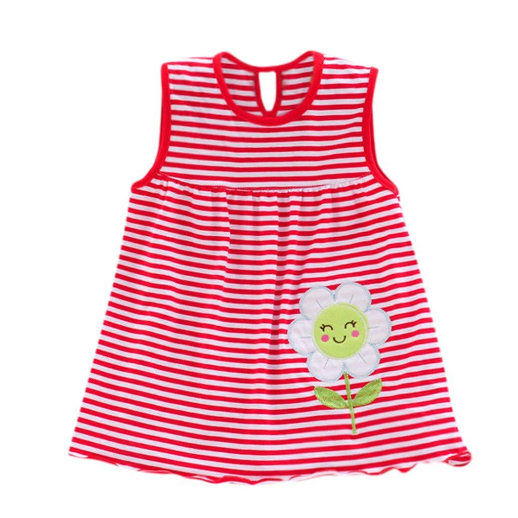 Toddler Baby Girls Sleeveless Cotton Clothes Children Flower Dot Striped Tees Dress T-Shirt Vest 0-24 Months (0-24 Months, Red)
