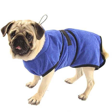 Petcomer Toalla de Baño Fibra Albornoces para Perros Gatos Lavable Pijamas de Secado Rápido Super Delgada