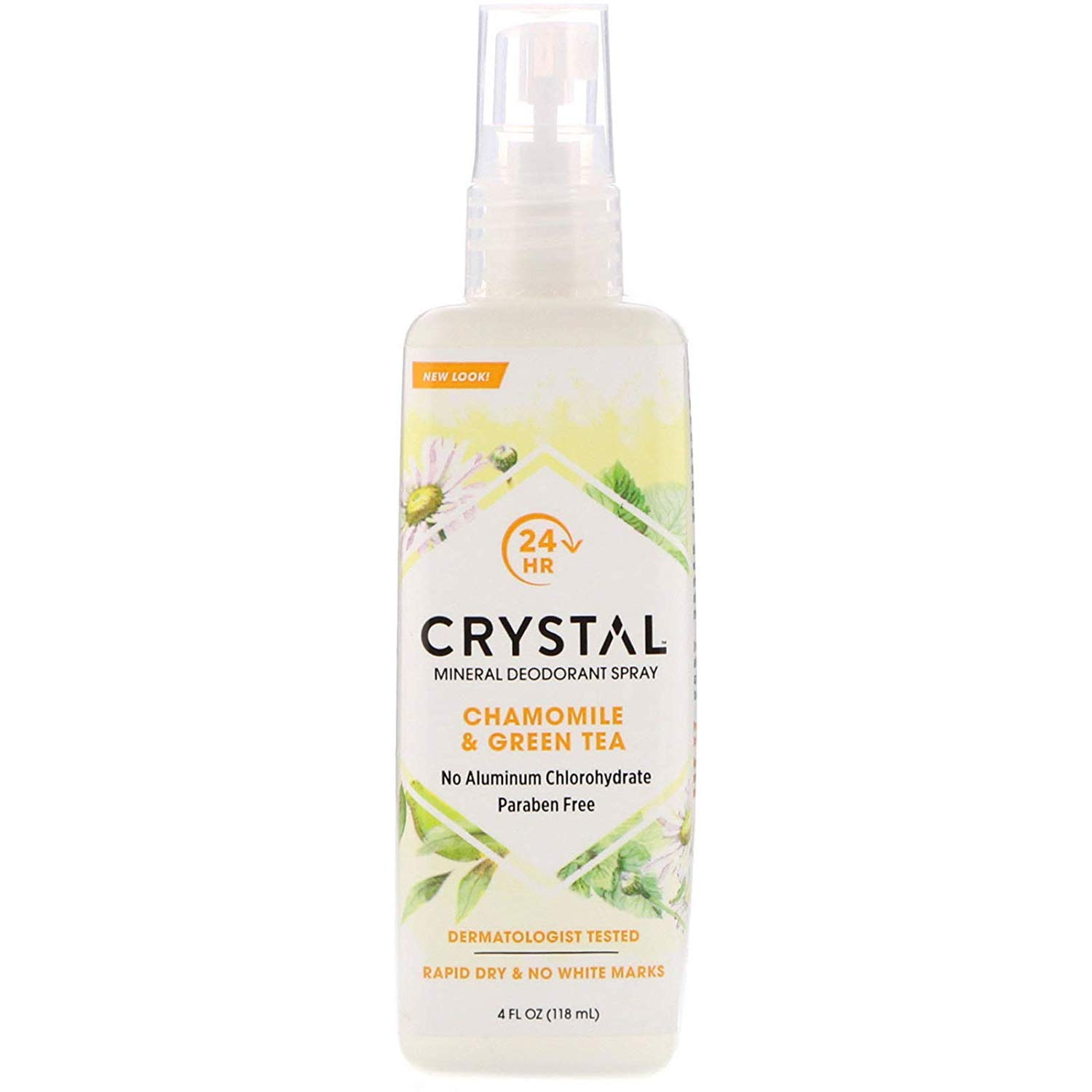 Crystal Essence Mineral Deodorant Spray, Chamomile & Green Tea 4 oz