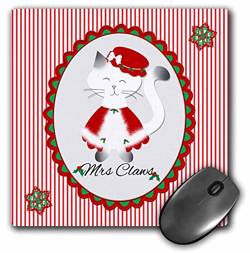 3dRose Charlyn Woodruff - CW Designs - Christmas Cats - Cute Christmas Red Striped Siamese Kitty Cat Mrs Santa Claws - MousePad (mp_185063_1) ()