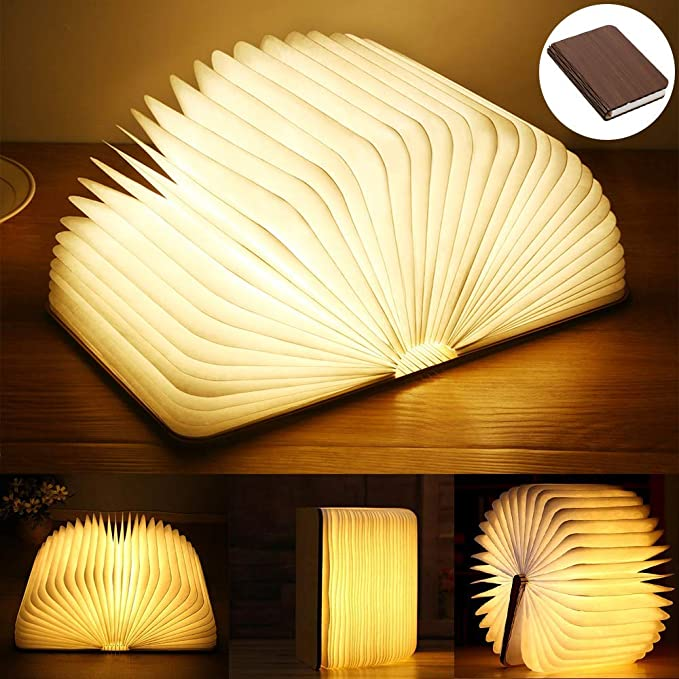 Yuanj Lampada Libro USB Ricaricabile, Lampada a Forma di Libro, Luce LED di Legno, Decorativi Lampada da Tavolo 2500mAh Grande Lampada a Libro