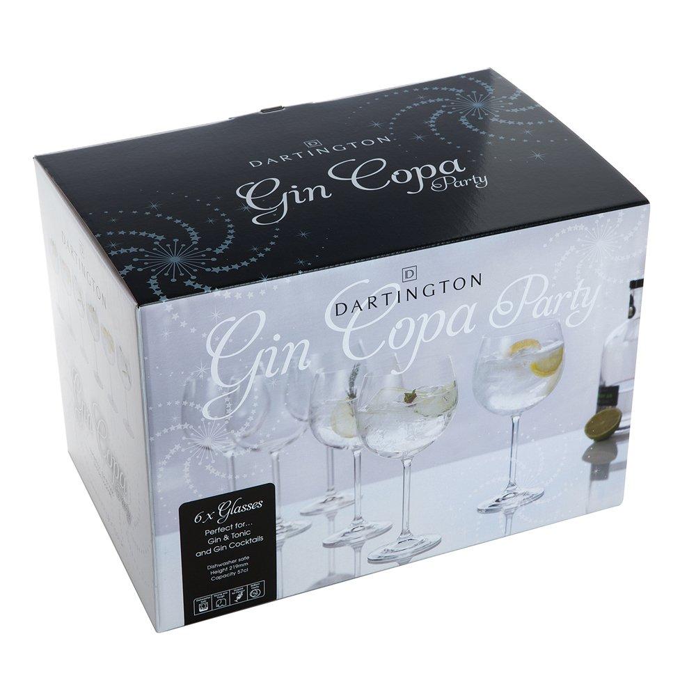 Dartington Crystal 6-Piece Gin Copa Party Glass, 9.5 x 9.5 x 22 cm Crystal Ex ST3171/3/6PK