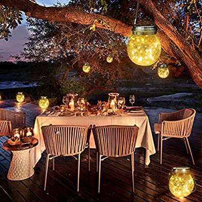 iflux Solar Lantern Jar Lights 20 LED Warm Crack Ball Light Waterproof Hanging Solar Lights, Solar Lanterns for Outdoor Patio Party Garden Lights (Two Pack) : Garden & Outdoor