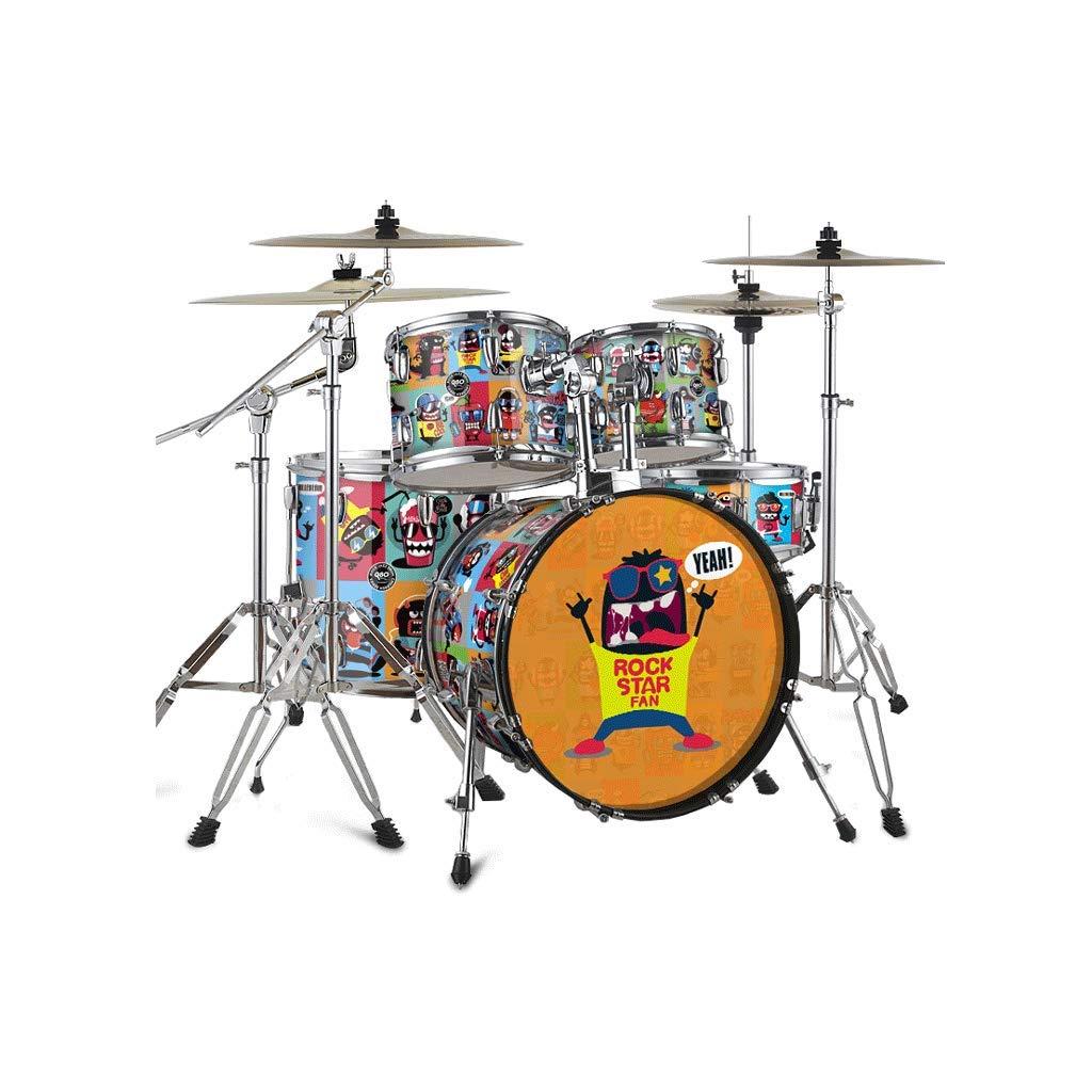LIUFS-Trommel Erwachsene Selbstlernende Karikatur-Trommeln Eintritts-Prüfungs-Fachmann der Kinder, der Jazz-Trommel spielt (Farbe   Rock star-4) Rock star-4