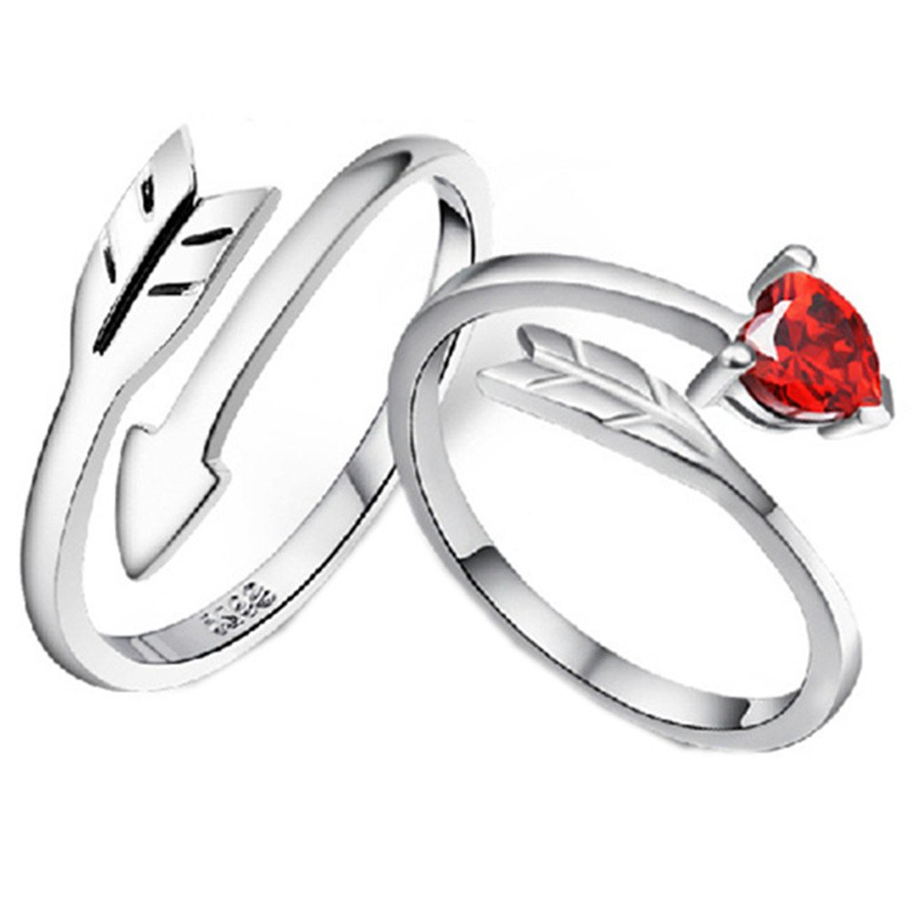 925 Silver Plated Vintage Cupid's arrow CZ Ruby Heart Women Open Band Ring,adjustable