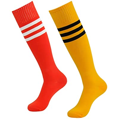 3street Unisex Youth Basics Knee High Long Triple Stripe Tube Football Socks Orange Red 2-Pairs OS