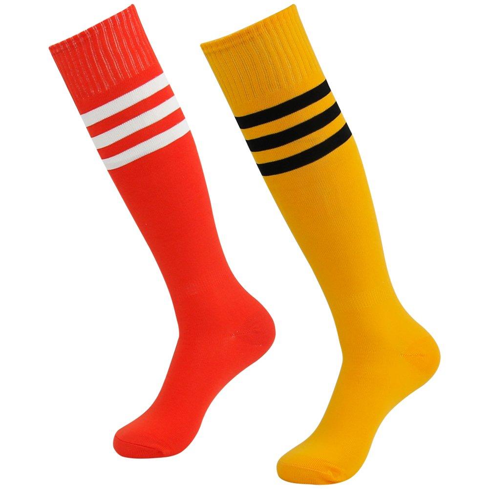 3street ユニセックス ニーハイ トリプルストライプ アスレチック サッカー チューブ ソックス 2 / 6 / 10組 B01GH35Z30 Orange+Black Stripe&Red+White Stripe Orange+Black Stripe&Red+White Stripe