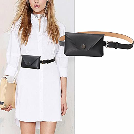 Womens Leather Belt 2 in 1 Fanny Pack With Removable Belt Waist Pouch  Fashion Belt Bags 8405e0a5406a