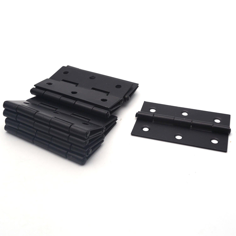 Antrader Cabinet Gate Closet Door Hinge 2-2/5'' Long Home Furniture Hardware Folding Butt Hinge Black Pack of 12