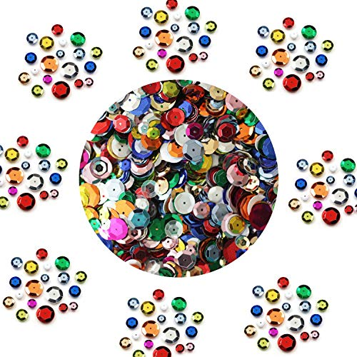 BULK CRAFT CUP SEQUINS MIXED COLORS and SIZES ~ Great Big Pack (2-Pack)~ Over 10,000 sequins