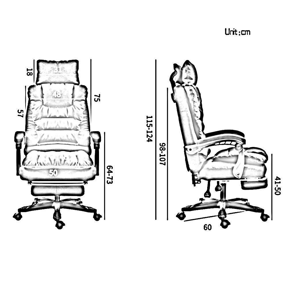 Verkställande och ergonomisk svängbar stol dubbel tjock kudde hög rygg stor storlek tyg spelstol bärkapacitet: 150 kg (färg: Brun) rosa