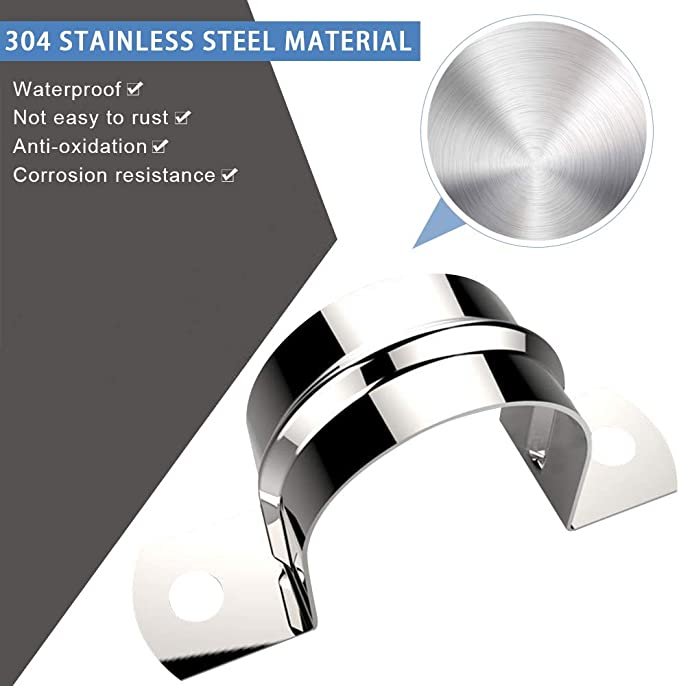 YOFASEN 304 Stainless Steel Pipe Clip Set Screws M4*18 * 25pcs Silver Pipe Clamps 50mm *10pcs