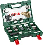 Bosch 91 Piece Titanium and Screwdriver Drill Bit V-Line Set with Ratchet Screwdriver