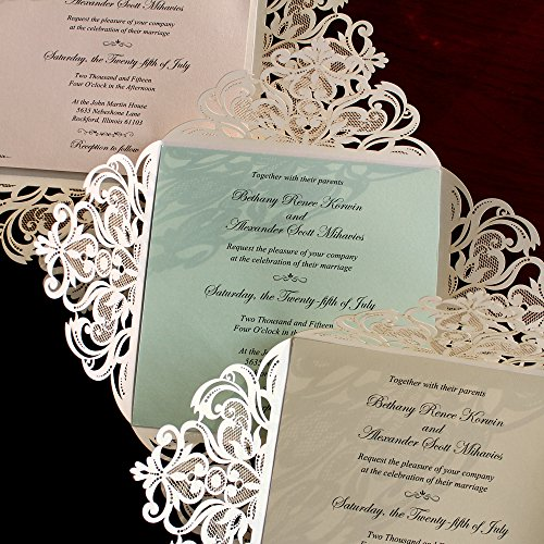 Picky Bride Laser Cut Wedding Invitations Elegant Customized Invitations with your Invite Wording - Set of 50 (Purple Inserts) by Picky Bride (Image #6)