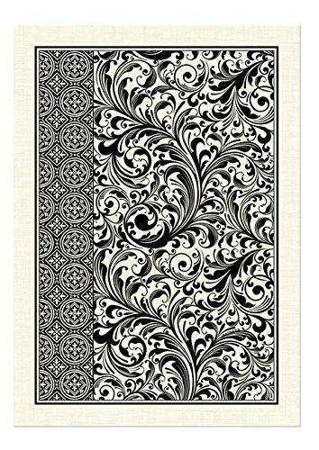 Michel Design Works Natural Cotton Kitchen Towel, Black Florentine