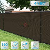 Patio Paradise 4' x 80' Brown Fence Privacy Screen, Commercial Outdoor Backyard Shade Windscreen Mesh Fabric with brass Gromment 85% Blockage- 3 Years Warranty (Customized Sizes Available)